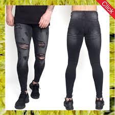 alibaba jeans custom mens designer brand denim jeans black stretch skinny damaged