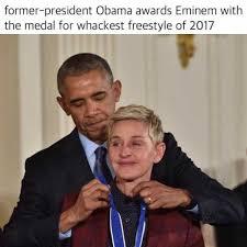 President Obama Meme - dopl3r com memes former president obama awards eminem with the