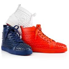 christian louboutin louis spikes men u0027s flat in blue for men lyst