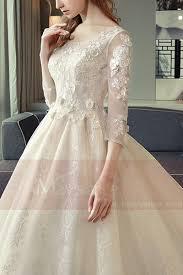robe de mari e classique de classique pour mariage blanc casse manche 3 4 en dentelle