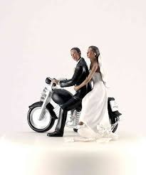 motorcycle wedding cake toppers motorcycle get away wedding cake topper figurine skin tone