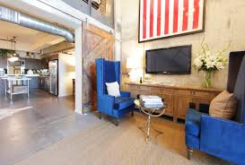 office workspace spacious office room creative ideas alongside office workspace spacious office room creative ideas alongside natural concrete and old door wall scheme with picture and blue foamy chair tall backrest
