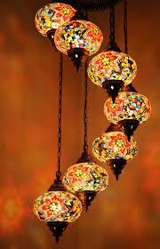 Turkish Chandelier Turkish Mosaic 7 Globe Chandelier Seven Stairs Snazzy Bazaar