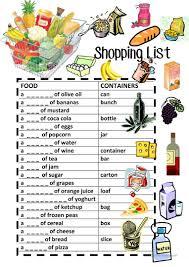 27 free esl shopping list worksheets