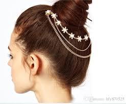 hair broach fashion imitation pearl flower chain hair brooch clip pin cuff