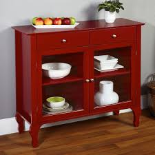 buffet sideboard china cabinet red server hutch table country
