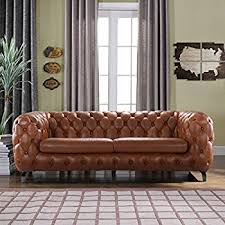 chesterfield sofa leather amazon com modern leather tufted chesterfield sofa for