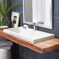 Wooden Stool For Bathroom Bathroom Trough Sink With Wood Countertop And Tile Wall Plus