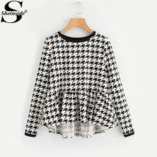 houndstooth blouse sheinside frilled high low houndstooth blouses 2017 neck