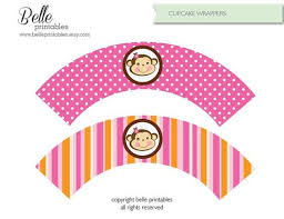 cupcake wrapper monkey pink diy printable belleprintables