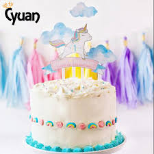 gender reveal cake toppers cyuan 4pcs unicorn cake topper girl boy happy birthday new year