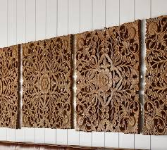 Wall Art Sets For Living Room Ornate Carved Wood Panel Wall Art Set Of 4 Pottery Barn