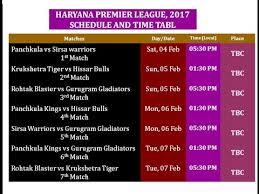 bpl 2017 schedule time table haryana premier league 2017 time table hpl t20 match 2017 youtube