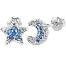 toddler earrings rhodium plated back earrings toddlers kids blue