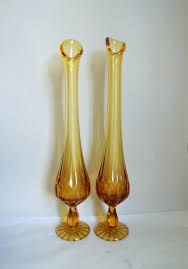 Vintage Yellow Glass Vase Viking Glass Pair Vintage Amber Glass Vases Pulled Glass