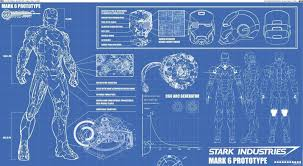 Wall Blueprints Ironman Blueprint Poster High Quality Silk Wall Poster 24x36 Inch