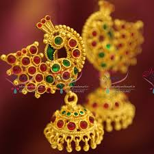 peacock design earrings er4062 peacock design stylish kemp jhumka earrings online
