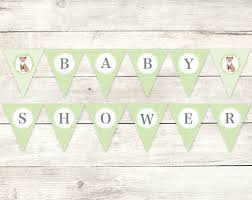 baby shower banners baby shower banner printable diy bunting banner fox green grey