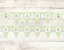 baby shower banner baby shower banner printable diy bunting banner fox green grey