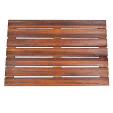 Bath Shower Mat Handcrafted Teak Wood Bath Mat Non Slip Feet For In And Out The