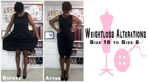 how to alter a size 18 dress into a size 8 weight youtube