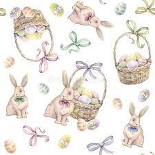 rabbit easter basket rabbit with easter basket on a white background color easter eggs