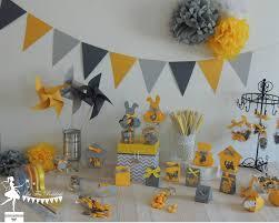 guirlande fanion mariage boite a dragees mariage bapteme baby shower theme jaune gris