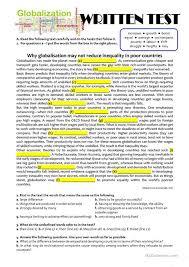 printable reading comprehension test test b2 c1 on globalization worksheet free esl printable