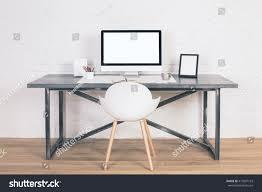 designer computer table front view designer desk blank white stock photo 417837163