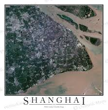 Map Of Shanghai Shanghai China Satellite Map Print Aerial Image Poster