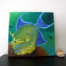 queen trigger fish original 8x8 oil painting on canvas tropical
