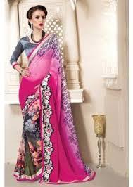 sari mariage grey georgette half n half saree gift