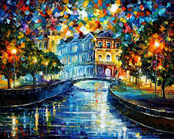 deep reflection u2014 palette knife oil painting on canvas by leonid