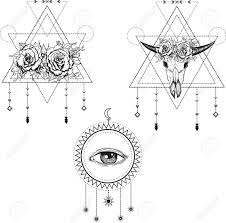 all seeing eye symbol sacred geometry third eye buffalo skull