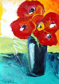 Flower Vase Painting Ideas Carol Engles Art Red Poppies In Blue Vase Acrylic Painting By