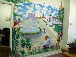 click on art gallery recent art of nels sterling bentson mural on the wall of his hispanic law office mexican plaza