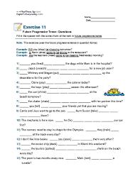 future progressive tense questions 6th 8th grade worksheet
