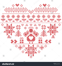 heart shape scandinavian printed textile style stock vector