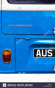 blue volkswagen blue volkswagen camper van rear end stock photo royalty free