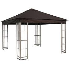 Small Patio Gazebo by Shop Garden Treasures 10 Ft X 10 Ft X 9 Ft Beige Steel Gazebo At