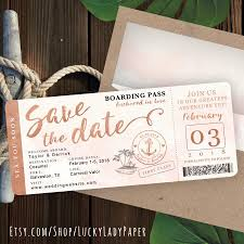 boarding pass save the date gold watercolor destination nautical cruise wedding boarding