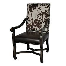 furniture interesting faux cowhide armdchairs with nailhead accent
