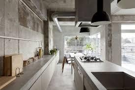 sol cuisine béton ciré design interieur cuisine industrielle sol murs îlot plan travail