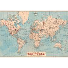 Self Adhesive World Map Decorating Swag Paper World Map 1876 Shipping Routes Self Adhesive Wallpaper