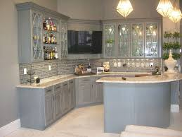 Modern Luxury Kitchen With Granite Countertop Modern Gray Island And Cabinets Brown Stain Granite Countertop 3