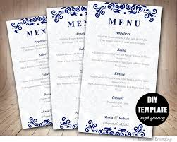 menu card template diy printable wedding menu card blue wedding