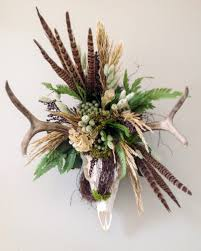 rustic wreaths custom creations made from antlers fur feathers