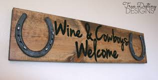 barn wood home decor wood horseshoe sign wine and cowboys welcome distressed rustic