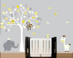 Grey And Yellow Nursery Decor by Childrens White Tree Wall Decal Jungle By Littlebirdwalldecals