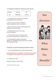 song worksheet what makes you beautiful by one direction
